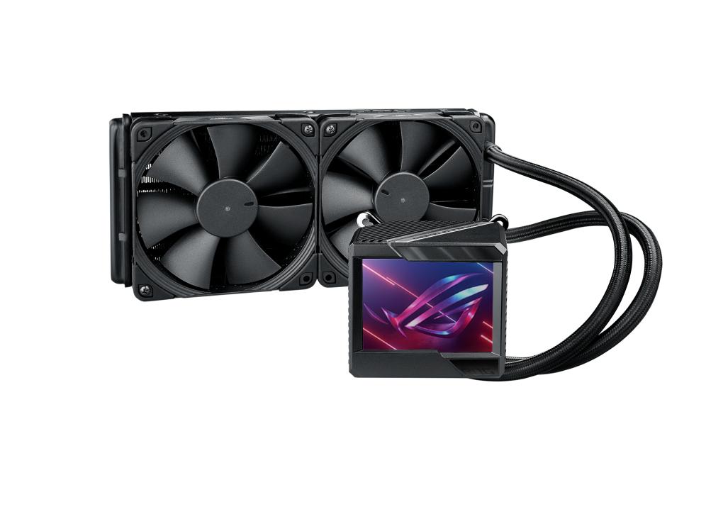 キャプション:12cm角×2のROG RYUJIN II 240ならより幅広いケースに対応できる。液晶ディスプレイの解像度は320×240ドット