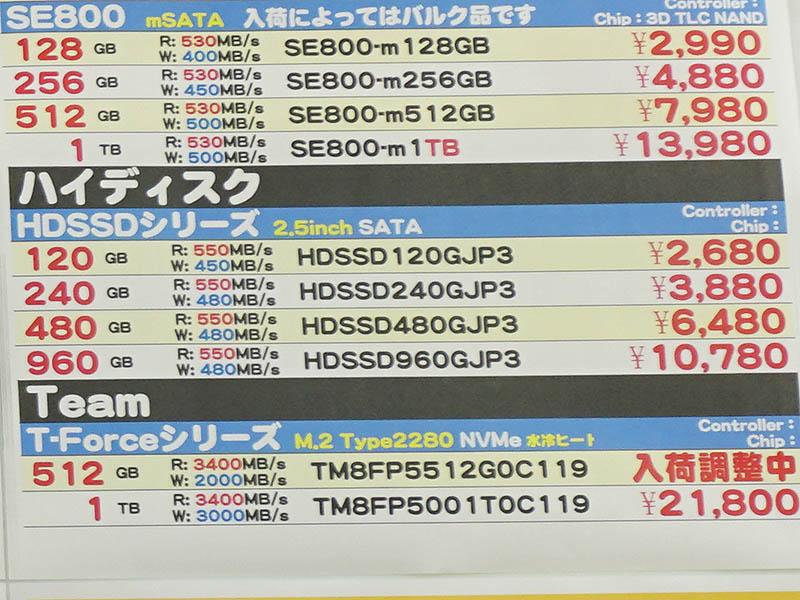 2.5インチSSDの1TBクラスとしては、HIDISCの960GBが10,780円