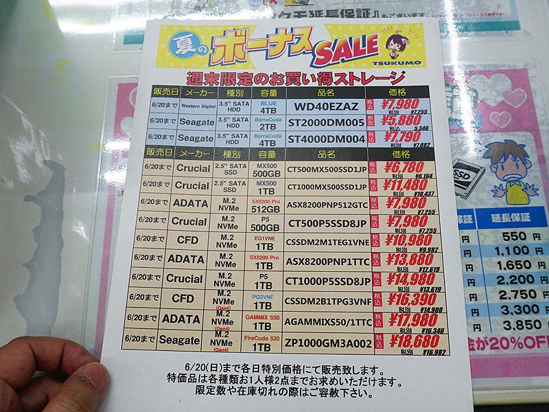 6月19日(土)のSSD特価ポップ