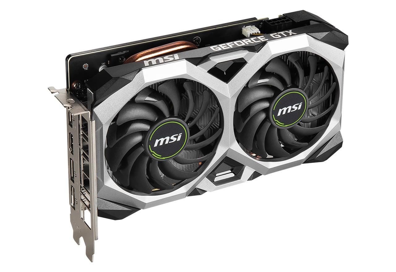 話題の最新ビデオカードというといずれも大型のものが多いが、ミドルレンジ~エントリークラスのGPUを搭載した製品にはファンが二つでサイズもそこそこ小さくまとまっているものも多い。写真はMSI「GeForce GTX 1660 SUPER VENTUS XS OC」