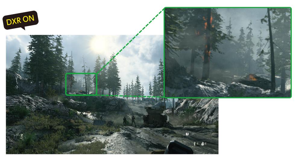 リアルタイムレイトレーシングは、DXR(DirectX Raytracing)対応タイトルで利用できる。森に差し込む日光や木々の影、地面の水たまりの反射などがリアルに再現される<br>Call of Duty:Modern Warfare:(C)2019-2020 Activision Publishing, Inc.