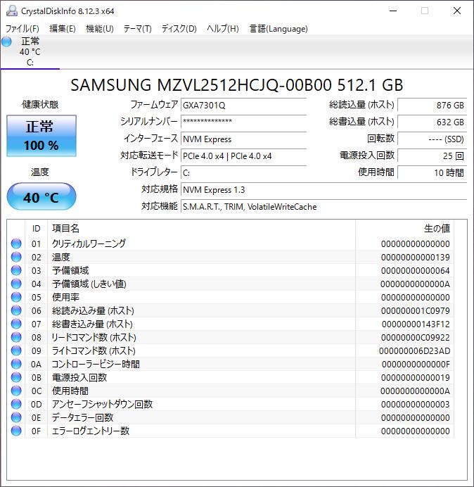 CrystalDiskInfoによるステータス。PCIe 4.0 x4対応。