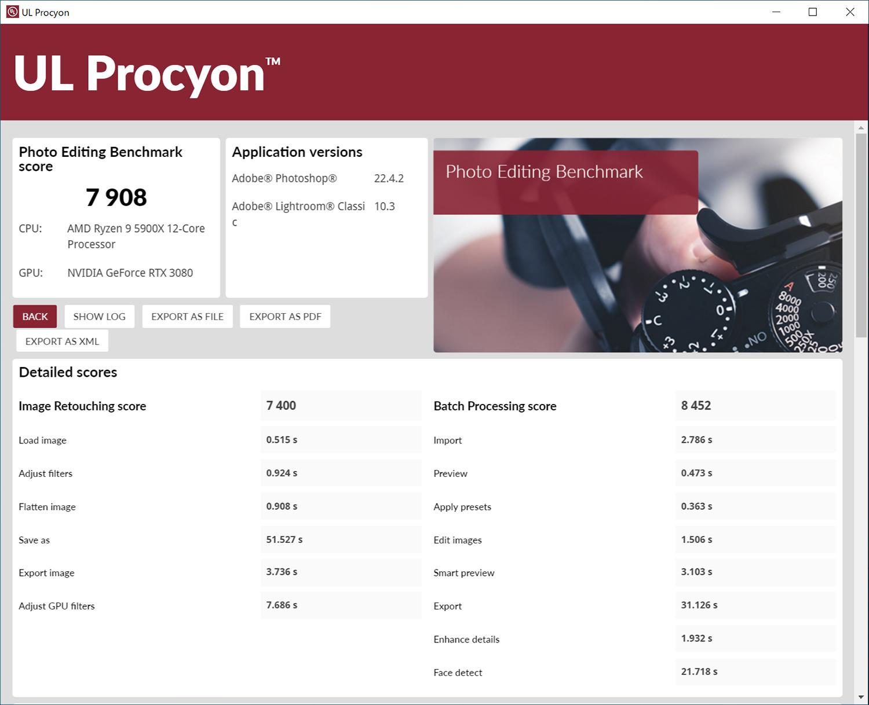 UL Procyonのの結果画面。左がAdobe Photoshopを実際に使って写真編集処理の速度を計測する「Photo Editing」。右がAdobe Premiere Proを使って動画編集処理速度を計測する「Video Editing」の結果。近年ではAdobeのクリエイティブアプリをRyzen環境で使いたいという声が増えている