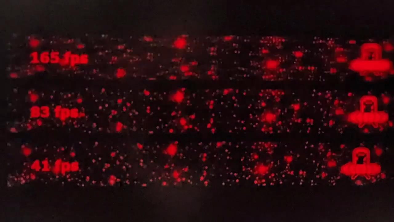 フレーム間に赤色を挿入するため輝度は若干落ちるが、残像感はぐっと軽くなる(画面はイメージ)