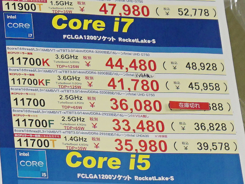 第11世代のCore i7-11700Fの品薄が改善、価格も36,828円に値下がり