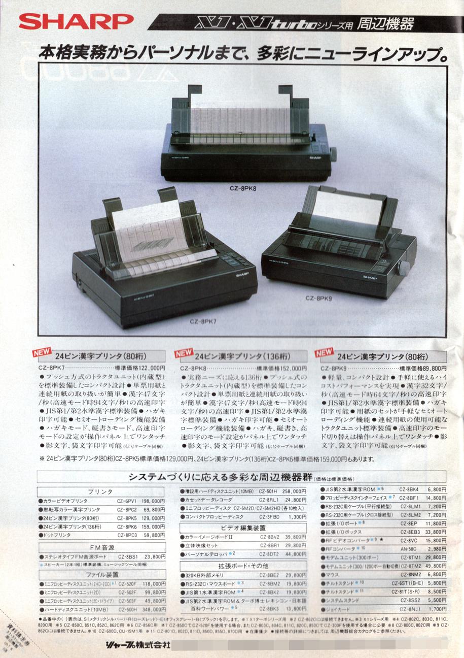 X1turboZIIと同時に発売されたプリンタは、合計3機種。このスペックでこの値段でしたが、それでも安かったということを考えると、今のプリンタがもの凄い価格設定なのが良く分かります。