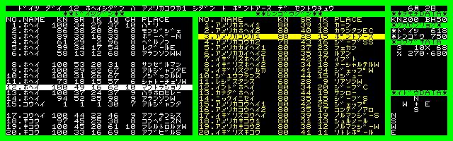 メインの画面は、このようになっています。左側にドイツ軍の20師団が、右側に連合軍の戦力が表示されていました。さらに右側には日付と総戦力、戦闘時にデータが表示される部分、移動を選択した時の移動先地名が表示されるスペースとなっています。ここで、師団ごとに1-6までのコマンドを入力し、ゲームを進めていきます。なお、7を押すとコマンド説明が表示されました。戦闘を仕掛けた場合、一番上の部分に簡単な戦況と結果だけが表示されます。