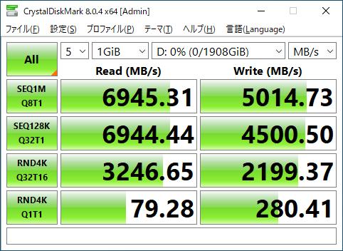 Plextor M10PG 2TBのCrystalDiskMark実行結果。この速度がゲームに活かされるのか確認する。