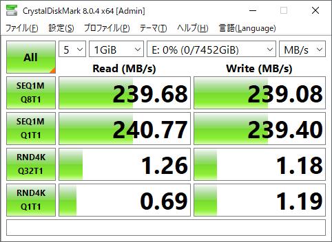 比較に用いるHDDのCrystalDiskMark実行結果。7,200rpm動作の3.5インチHDDなので、HDDとしてはなかなか高速だ。