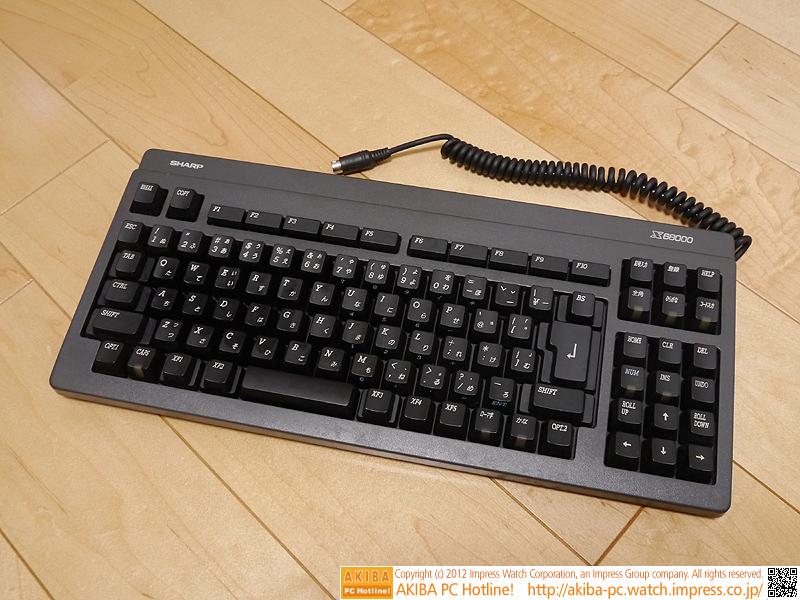 X68000 Compactのキーボード。テンキーレスタイプ。