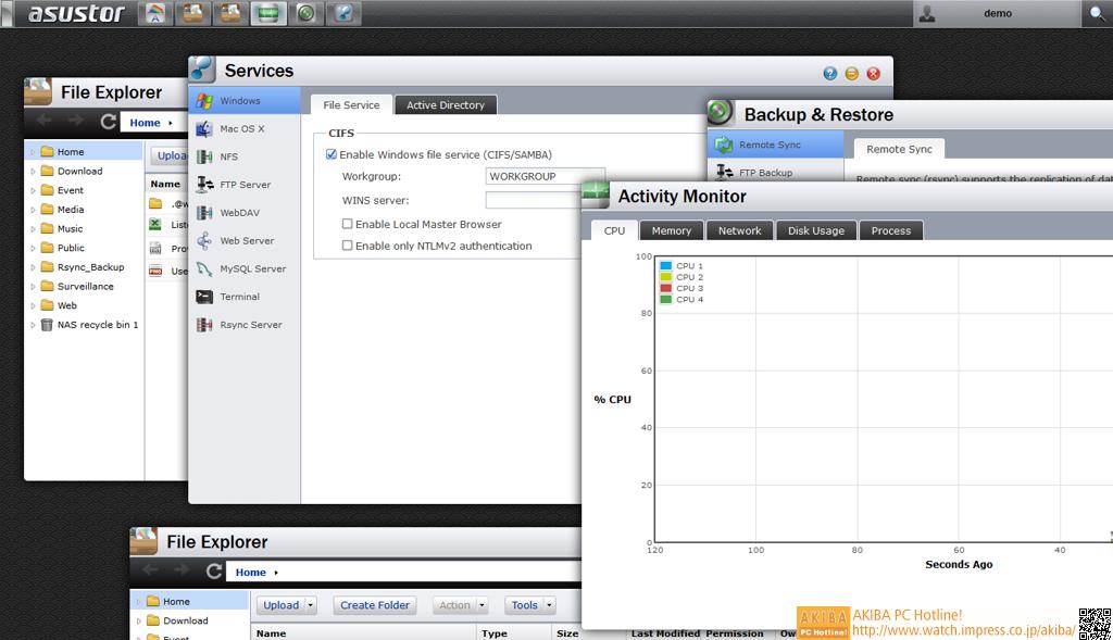"""リモートデスクトップを利用している感覚で、WebブラウザからNASを操作できる。使用感はWeb上の<a class="""""""" href=""""http://www.asustor.com/live_demo?lan=jpn"""">LiveDemo</a>で体験可能。"""