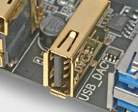 効果のほどは定かではないが、USB DAC接続用に低ノイズ設計のUSBポートを用意するという製品もある