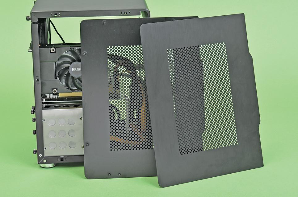 """両側板は風の通りがよいメッシュ<br class="""""""">ケースの両側板はメッシュ構造で、外気を取り込みやすい。また、これらの側板はネジなしで着脱できる「クリップ式」を採用しており、メンテナンス性にも優れる"""