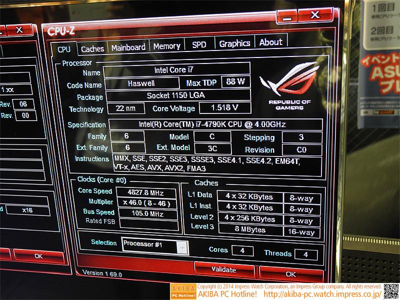 4GHzから4.8GHzにオーバークロックして動作。CINEBENCHが完走した。