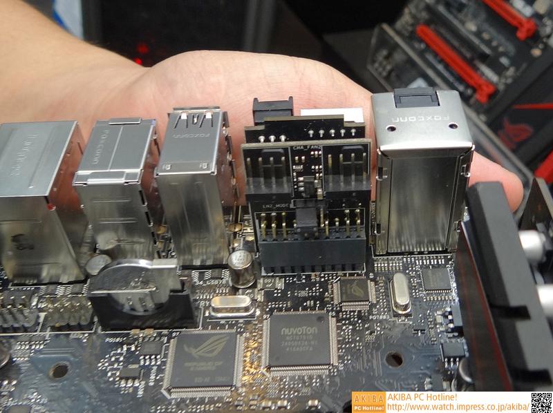 MAXIMUS VII IMPACTではファン接続用の4ピンコネクタがサブボード経由になっている。サブボードを介することで、狭いMini-ITXケース内でも取り外しなどが楽になるとのこと
