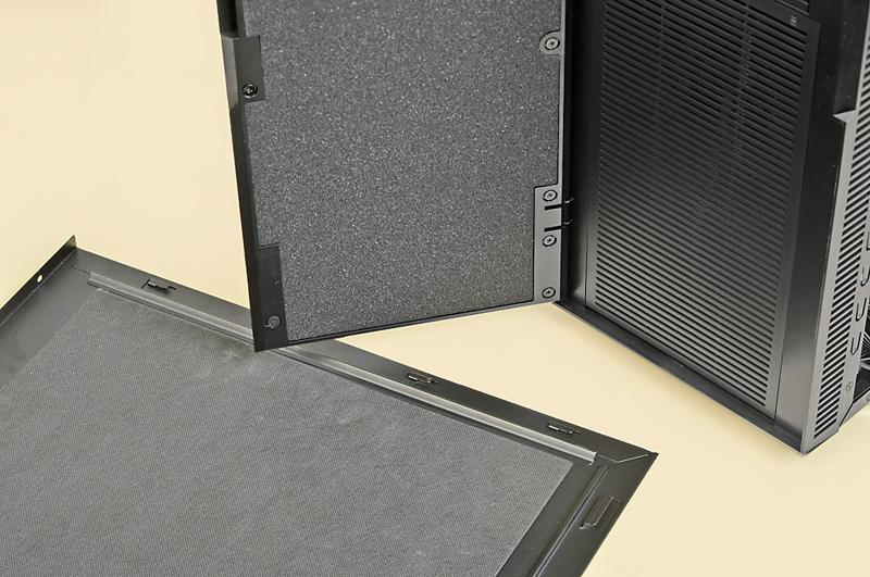 """ポイント1:要所に吸音材を装備<br class="""""""">フロントパネル、サイドパネルに吸音材を装備することで防音性を上げている"""