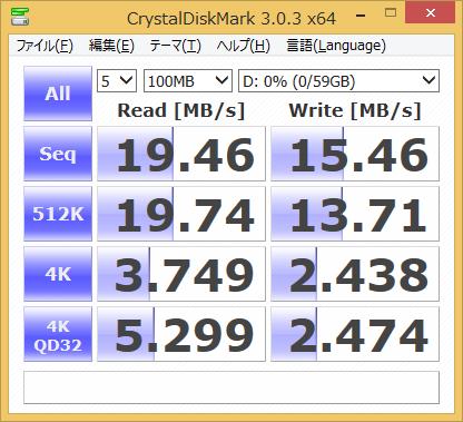 フロントパネルのSDカードスロットに、UHS-I対応SDXCカードを取り付けた際のスコア。シーケンシャルリードで70MB/s程度は出るカードだが20MB/s弱にとどまっている。UHS-Iはサポートしていないようだ。