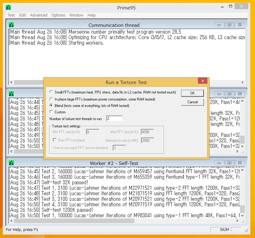 負荷テストにはPrime 95 v28.5のBlend Testを利用。CPUだけでなくメモリにも高負荷を掛けられるので、負荷に耐えられない設定だとエラーが出てテストがストップしてしまいます。