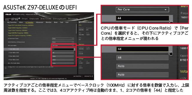 ASUSTeK Z97-DELUXE のUEFIでTurbo Boost設定している様子