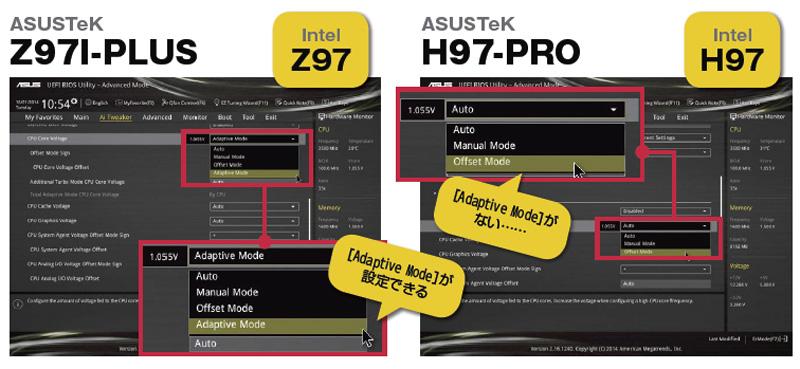 ASUSTeK Z97I-PLUSとASUSTeK H97-PROのUEFI設定画面。