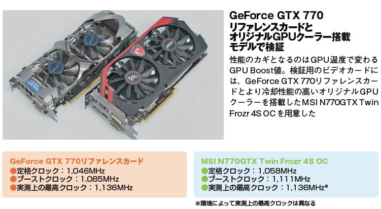 <b>GeForce GTX 770リファレンスカードとオリジナルGPUクーラー搭載モデル</b><br>性能のカギとなるのはGPU温度で変わるGPU Boost値。検証用のビデオカードには、GeForce GTX 770リファレンスカードとより冷却性能の高いオリジナルGPUクーラーを搭載したMSI N770GTX TwinFrozr 4S OCを用意した
