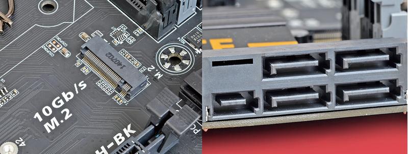"""<b class="""""""">M.2とSATA Expressに対応</b><br class="""""""">M.2(Socket 3、PCI-E 2.0 x2接続)とSATA Expressの両方をサポートするなど、Z97マザーボードとして不足する機能はない"""