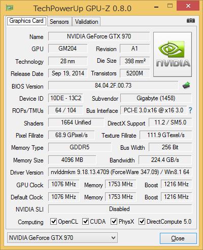 GPU-Z実行画面