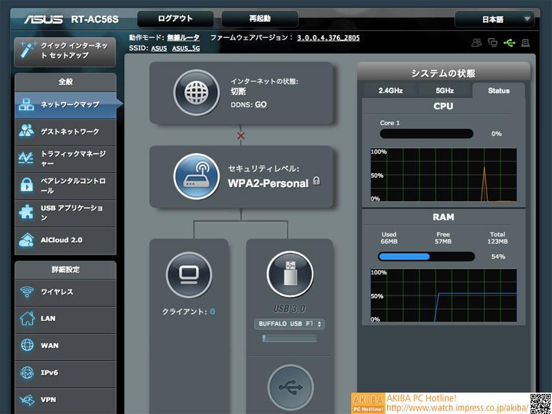 グラフィカルなRT-AC56Sの管理画面