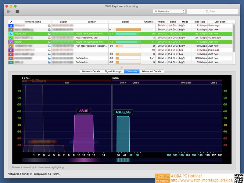 計測に使用したソフト「WiFi Explorer」