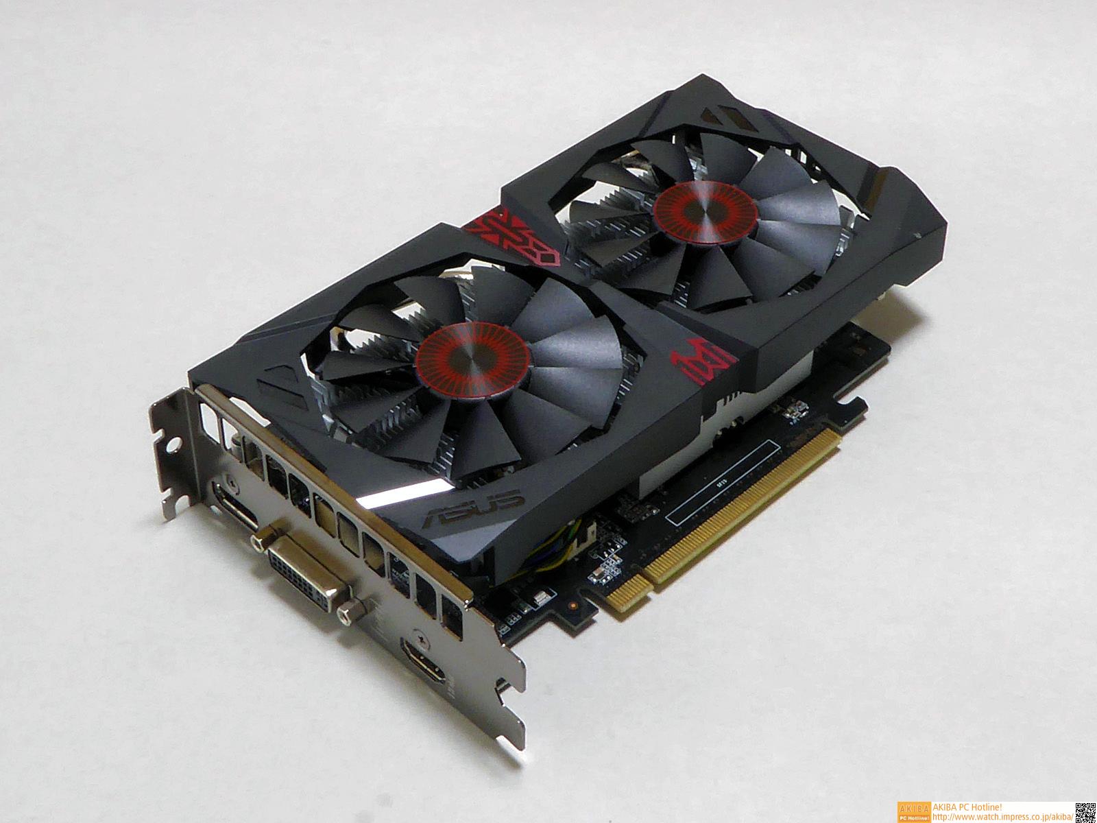 "<strong class="""">ビデオカード:ASUSTeK <a class="""" href=""http://www.asus.com/jp/Graphics_Cards/STRIXGTX750TIOC2GD5/"">STRIX-GTX750TI-OC-2GD5</a>(NVIDIA GeForce GTX 750 Ti)</strong><br class="""">NVIDIA GeForce GTX 750 Tiを搭載するミドルレンジビデオカード。GPU温度が50℃を越えたときのみファンを回転、以下では回転を停止する設計により、2D使用時や3Dでも低負荷な処理では「ゼロノイズ」を実現する。GPUに直接ヒートパイプを接触させ、熱輸送の効率化を狙った「DirectCU II」クーラーは放熱効果が高く、搭載する2基のファンは回転時でも静かだ。同時に、基板上のコンデンサやチョークコイルなども、高耐久、高品質の部品を採用している。"