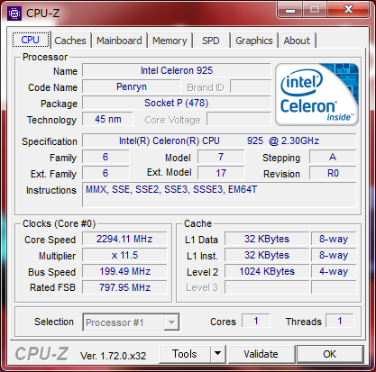 CPUはPenryn世代のシングルコアCeleron
