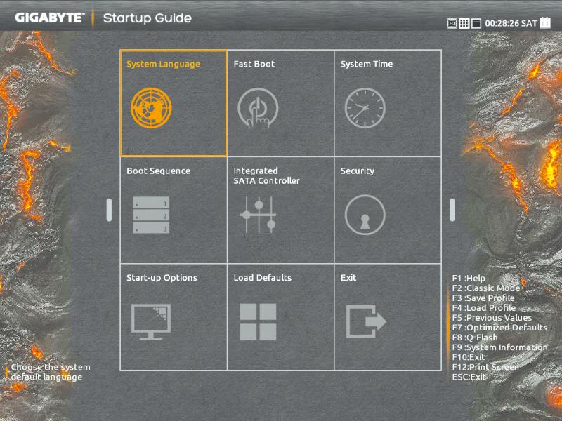 UEFIセットアップは、Serial ATAの動作モードの設定、起動ドライブの設定などよく使う項目がまとめられたStartup Guideが用意されており使いやすい