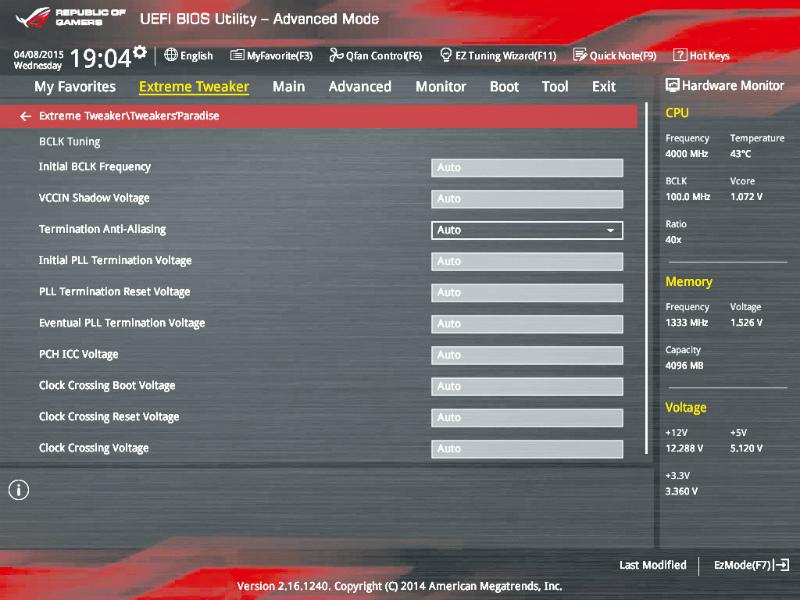 UEFIセットアップにはR.O.G.カラーを採用。各種電圧設定など、通常のZ97マザーボードよりも詳細な設定項目が用意されている