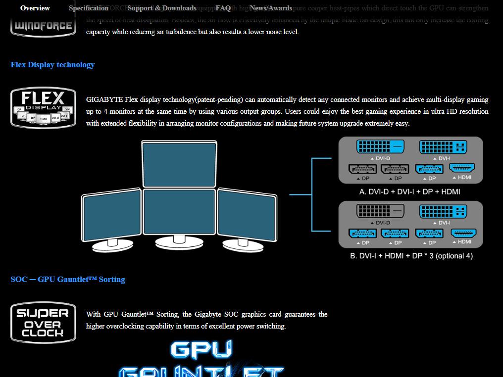 FELX DISPLAY テクノロジーは、出力端子のグループを切り替えてマルチディスプレイ環境を構築する技術。GV-N970G1 GAMING-4GDの場合、「DisplayPort×3 + HDMI + DVI-I」と「DisplayPort、HDMI、DVI-D、DVI-I」という2つの出力端子グループをサポートしており、起動時に接続されている端子に応じて自動でモードを切り替えて起動する。
