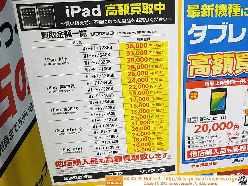 iPadの買い取り価格表。