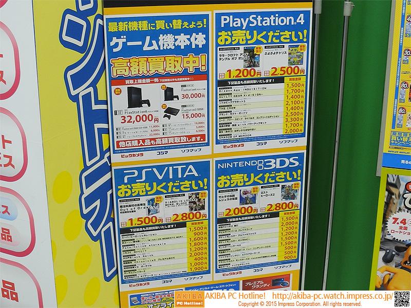 ゲーム機やゲームソフトの買取価格表。