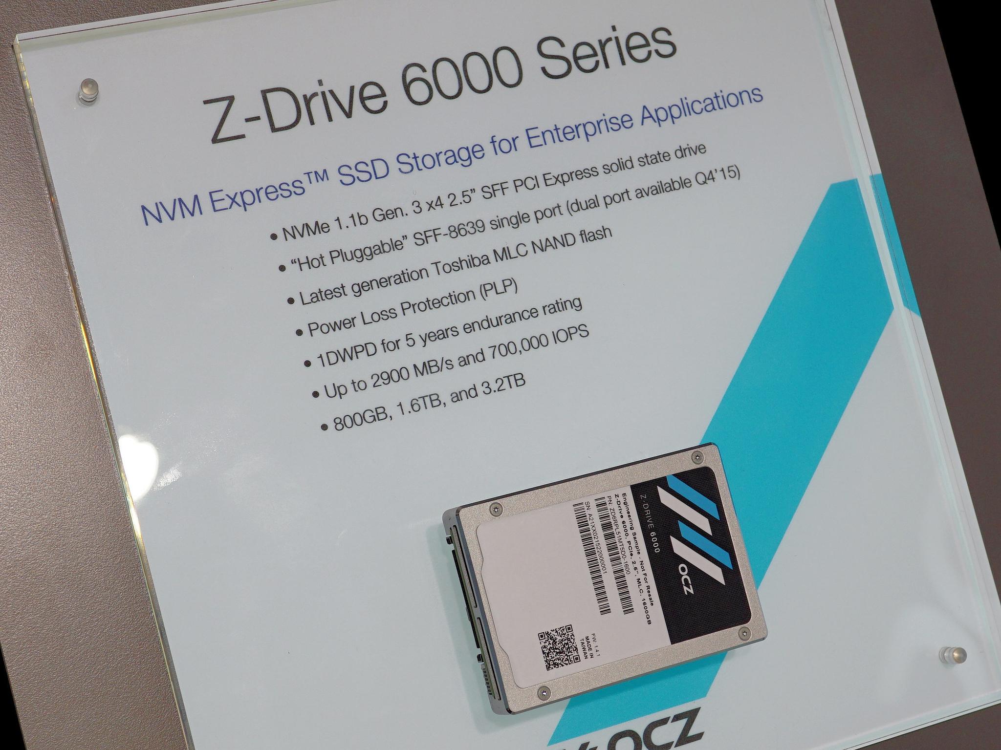 エンタープライズ向け新製品では「Z-Drive 6000」シリーズを展示。なかでも上位モデルのZ-Drive 6300は、世界初のSFF-6839インターフェースをデュアルで搭載する製品になる