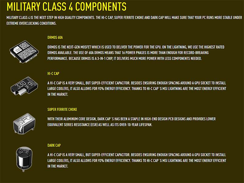実装パーツは「DrMOS」や「スーパーフェライトチョーク」、「HI-C CAP」など、高耐久性を追求したもの
