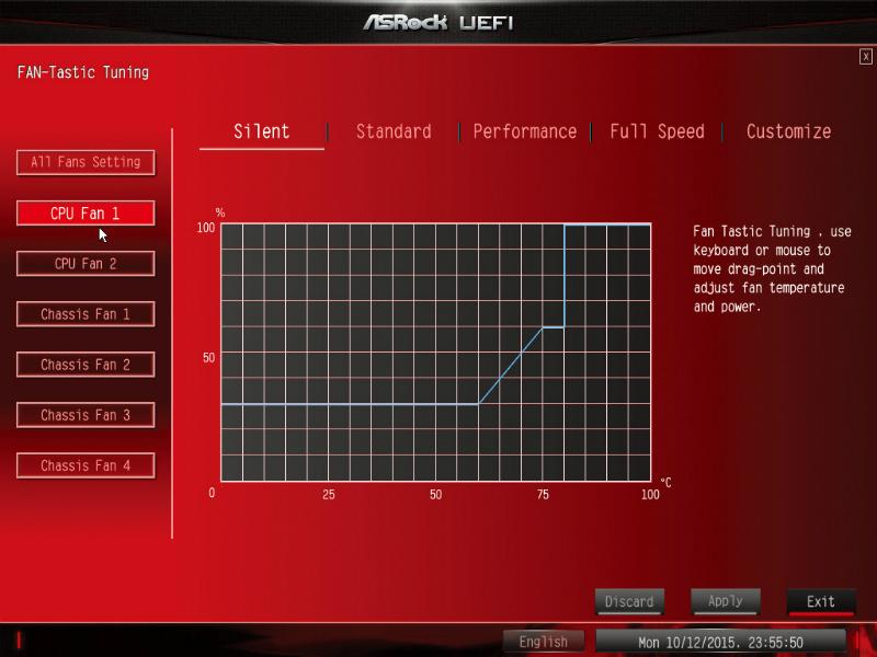CPUファンをSilent Modeにした場合、CPU温度が60℃に達するまでは30%の回転数で動作するように設定される