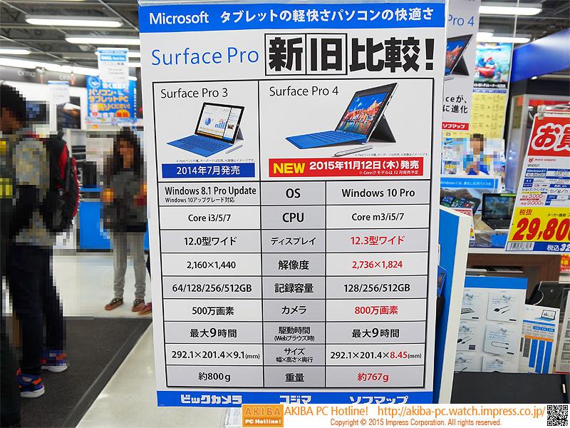 Surface Pro新旧比較表