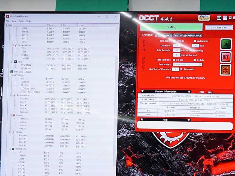 OCCTを実行中。CPU温度はHWMonitor読みで81℃に達している。