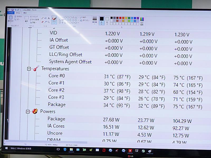 事前テスト時のCPU温度。ダウンボルテージの恩恵で75℃までCPU温度が低下している。