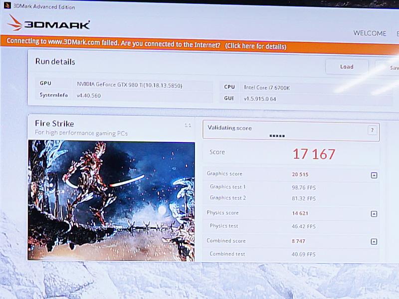 「GTX 980Ti SEA HAWK」の常用OC設定でのベンチマーク後の画面。