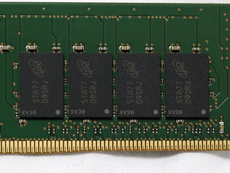 搭載チップはMicronのメジャーチップ「D9SRJ」で、1枚8Gbit(1GB)のDRAMチップを16枚搭載している。今回はこれを8枚用いて128GB環境を構築した。