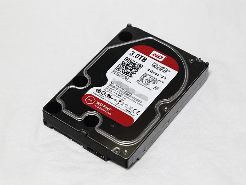 データ用HDDとして利用するWestern Digital WD30EFRX(3TB)。