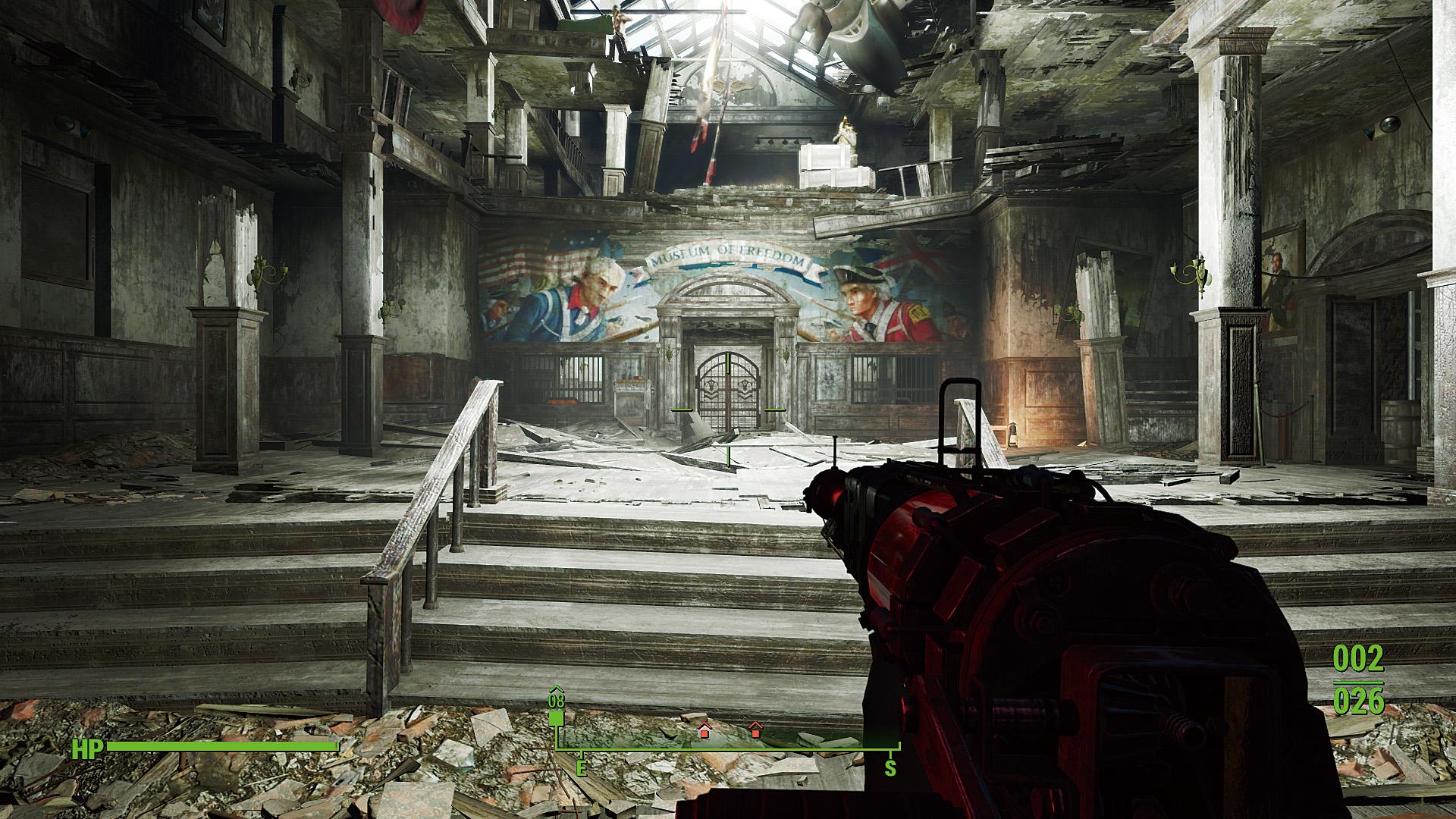 """「Fallout 4」でAOの設定を変えたときの違い。SSAOを使うと光の届きにくい奥まった部分の影の表現が向上し(奥の鉄格子周辺や扉枠の石柱に注目)、立体感が増すが、止め絵でない限り分かりにくい、というのが実情だろう<br class="""""""">Fallout 4:c2016 Bethesda Softworks LLC, a ZeniMax Media company."""