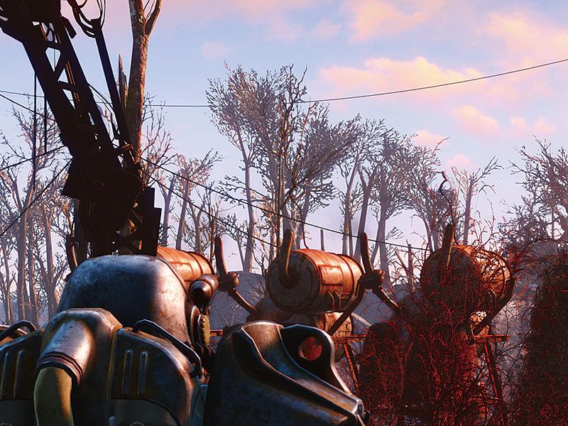 """「Fallout 4」でDSRを有効化し、4K相当の解像感にすると、遠景の枝もつぶれずに描かれることが分かる。ただし、リアル4Kプレイと同様に非常に高いGPUパワーが必要になる<br class="""""""">Fallout 4:c2016 Bethesda Softworks LLC, a ZeniMax Media company."""