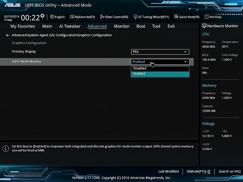 ビデオカードありの環境でQSVを有効にするには、UEFI上でビデオカードとCPU内蔵GPUの両方を使ったマルチモニタ環境を有効にしておく