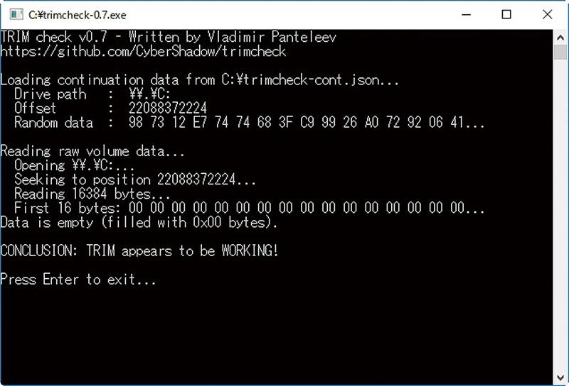 """Trimがきちんと動作しているかは、「SSDTRIM check tool」を利用することで確認できる。このツールを2回実行して、2度目で「WORKING」と表示されれば、Trimがきちんと動作している。SSD TRIM checktool(<a class="""""""" href=""""http://blog.thecybershadow.net/2012/12/09/ssd-trim-check-tool/"""">http://blog.thecybershadow.net/2012/12/09/ssd-trim-check-tool/</a>)"""
