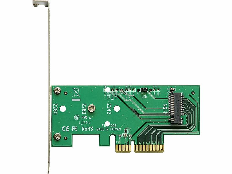 "<b class="""">玄人志向<br class="""">M.2(Type.M)→PCI-Express x4変換基板<br class="""">実売価格:2,000円前後</b>PCI Express接続のM.2スロットをPCI Expressの拡張カード形状に変換するアダプタ。PCI Express 2.0/3.0のどちらでも動作するので、一つ持っておくと便利に使える"